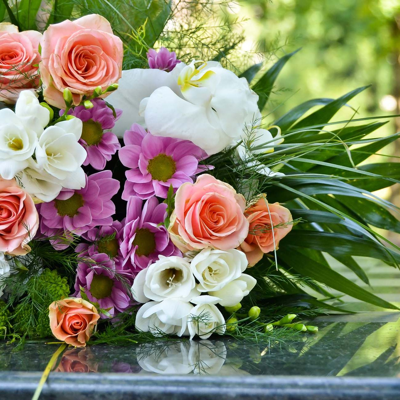 Wedding flowers on a table, outdoor